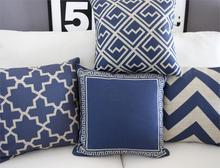 Chinese blue model sofa cushion cotton pillow