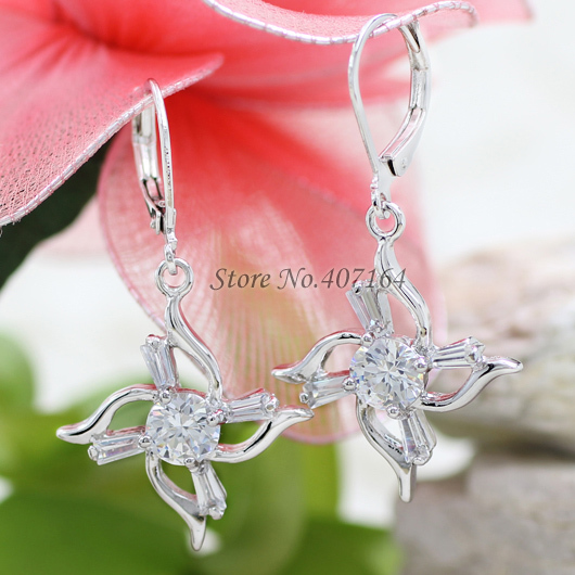 Hot classic 18K gold earrings big drop cubic zirconia stone star women - SunFlower Trade Co.,Ltd store