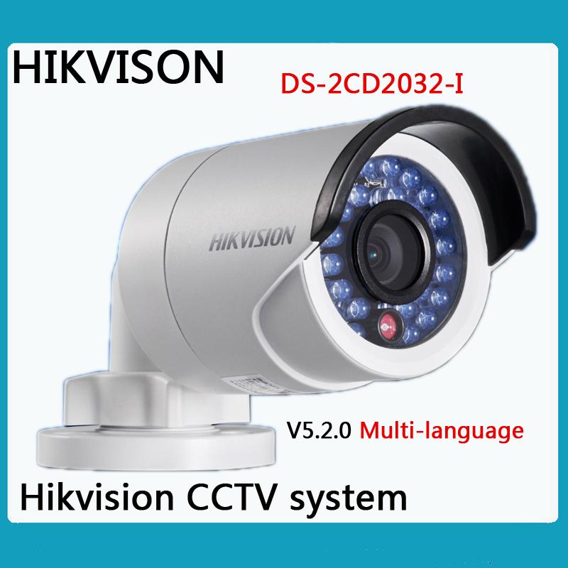 Newest Hikvision Multi-language Version V5.2.5 DS-2CD2032-I 3MP Bullet Camera Full HD 1080P POE Network Outdoor IP CCTV Camera(China (Mainland))