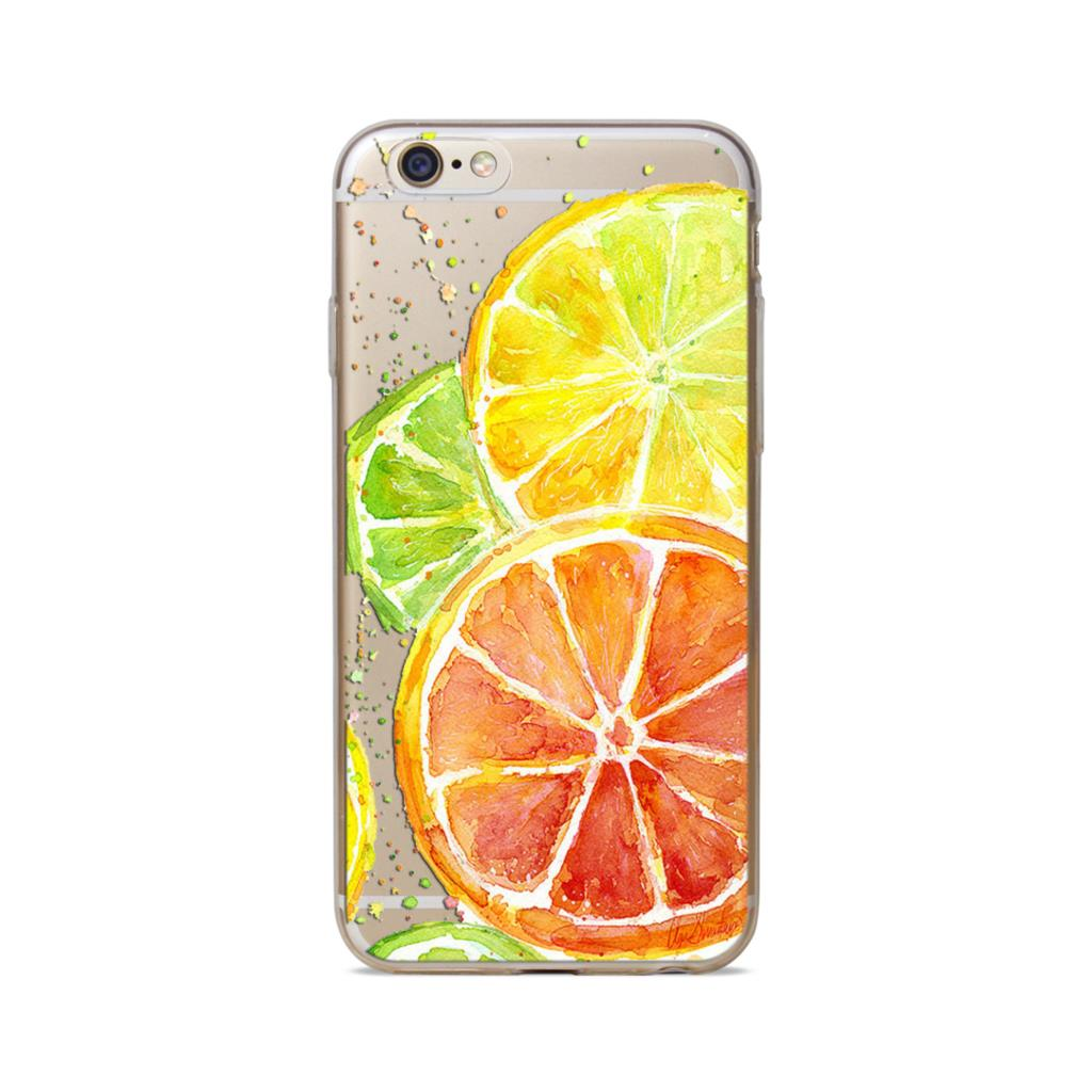 Cover Case for iPhone 5 5S 5SE 5C 6 6S 6 Plus 6sPlus Transparent Ultra Soft Silicone Cartoon Fruit Pattern Protector Phone Bags