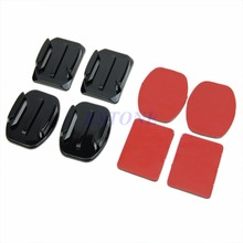 Free Shipping 8Pcs Flat Curved Adhesive Mount Helmet Accessories For Gopro Hero 1/2/3 /3+ Kit