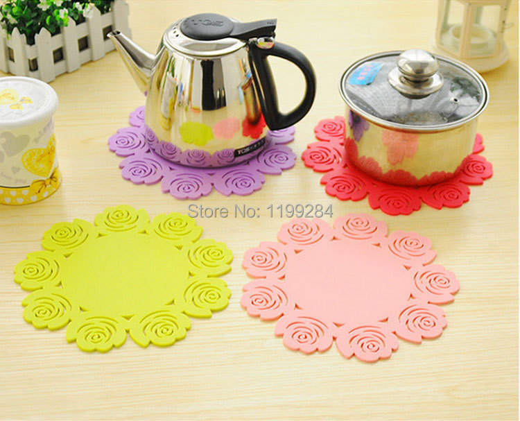 1pcs Hollow Rose Silicone Coasters Antiskid Heat Pad Thicken Cup Mat Fashion Cute Placemat Diameter 15.5cm CT095(China (Mainland))