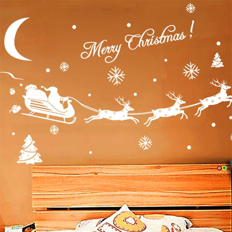 Гаджет  Merry Christmas Santa Claus holiday party decoration wall sticker home decor shop store window stickers removable mural art None Дом и Сад