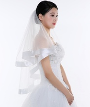 Buy White Ivory Cheap Short Wedding Veils Tulle Ribbon Edge Bride Bridal Veil velos de novia voile mariage for $3.96 in AliExpress store