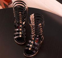 2016 summer child sandals female child high gladiator cool boots long gaotong rivet hot-selling fashion cutout(China (Mainland))