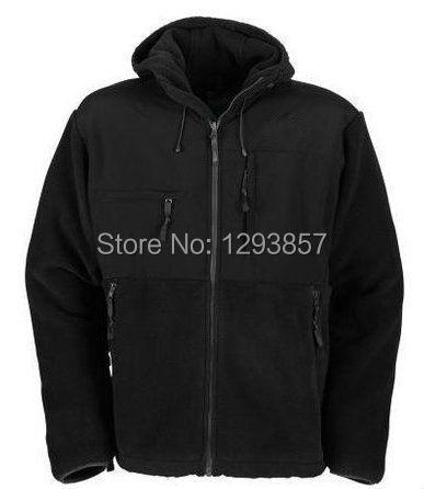 2014 New Men's Brand Denali Fleece Hooded Down Jacket, Mens Outdoor Denali Fleece Parkas Mountaineering Sports Coat Black S-XXL(China (Mainland))