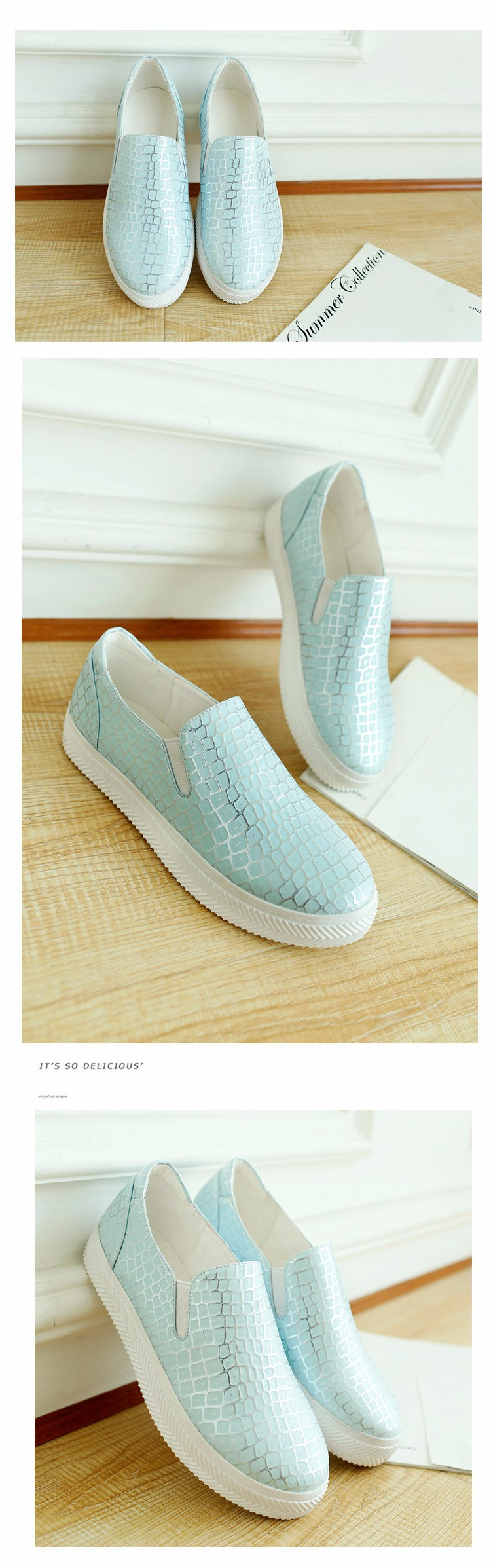 2016 New Spring Fall Fashion Flat Women Loafers Shoes Platform A Pedal Lazy Snakeskin Female Single Shoes White Blue Pink Z3.5