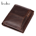 LEVELIVE Brand Genuine Leather Men Wallets with Card Holder Mens Vintage Cow Leather Zipper Wallet Male