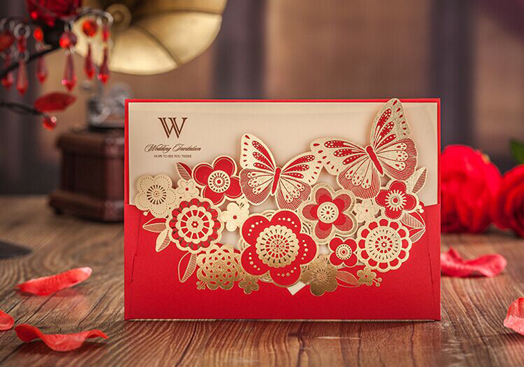 High Quality Red Wedding Invitation Card 182*128mm Gold-Bronzed Butterfly 50pcs/lot With Envelopes And Seals For Free(China (Mainland))