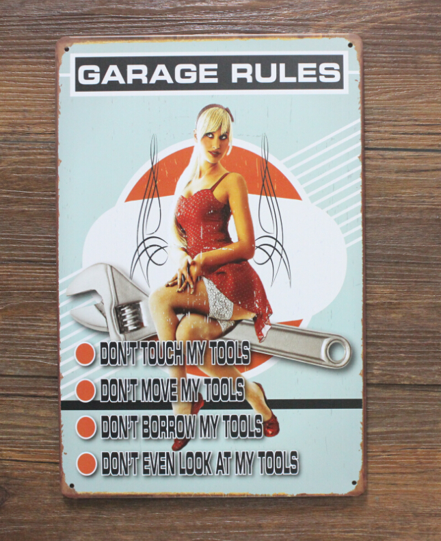 20*30cm GARAGE RULES Wall Stickers Decor Iron Retro Tin Metal Signs Plaques M4(China (Mainland))