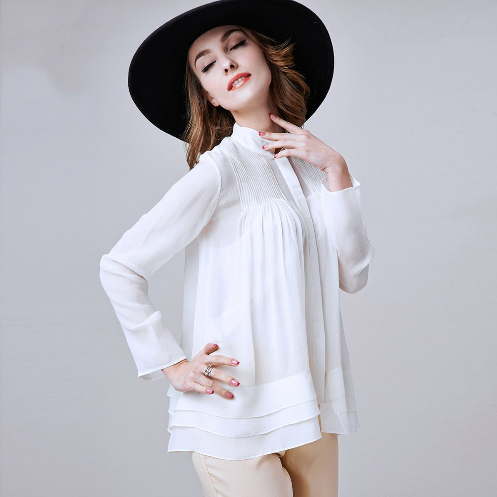 2015 Summer New Women Plus Size Loose Blouses Full Sleeve Ladies Silk Shirts Long Tops camisas femininas LS844Одежда и ак�е��уары<br><br><br>Aliexpress