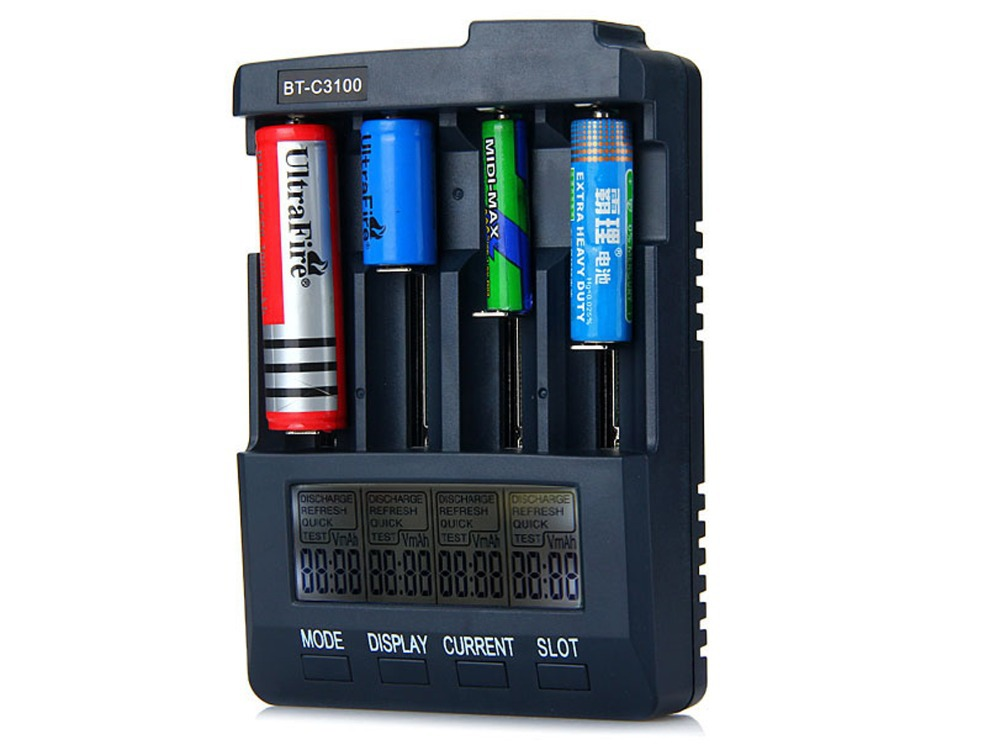 BT-C3100 V2.0 Digital Intelligent 4-Slot LCD Battery Charger Compatible with Li-ion NiCd NiMh Batteries With EU or US Adapter(China (Mainland))