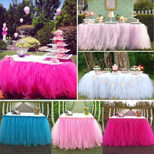 Buy Tulle TUTU Table Skirt Tableware Wedding Party Xmas Baby Shower Birthday Decor for $12.91 in AliExpress store