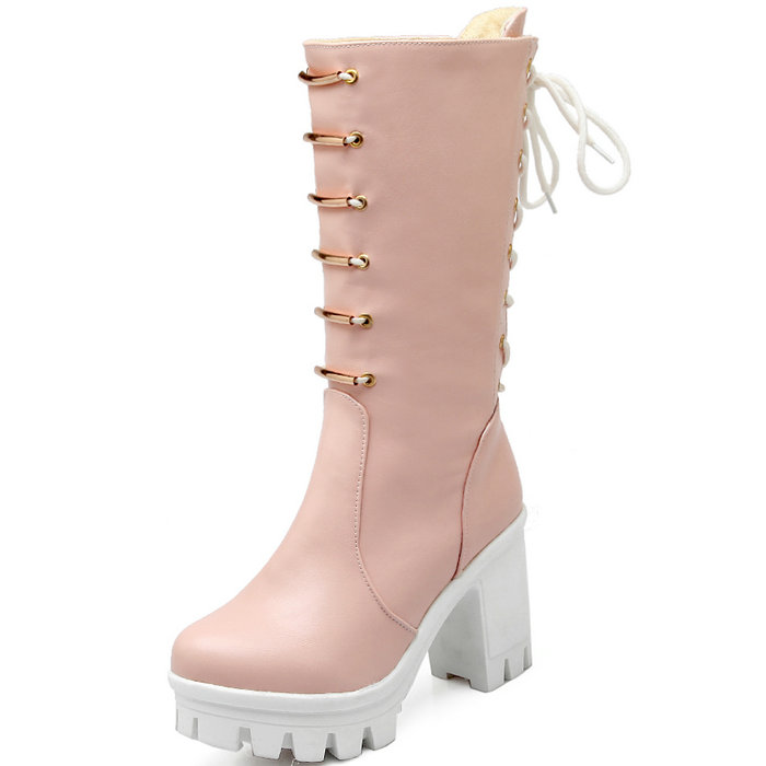 zapatos mujer Women's Knee High Boots Round toe Square High Heel Shoes Autumn Winter Women Knee Boots Lace-up Botas Women Shoes