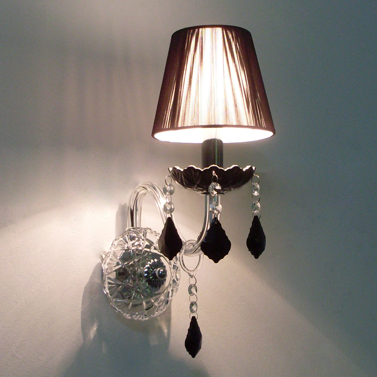Wall Lamps Indoor : Hot ! Crystal wall lamp indoor wall mounted lighting wall sconces with Fabric Shade E14 110V ...