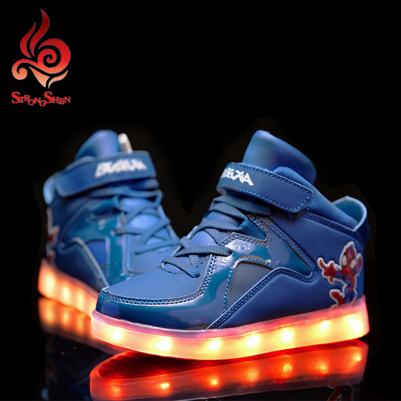 2016 Children font b Shoes b font With Light Boys And Girls Casual LED font b