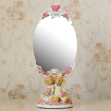 Vintage Oval Mirror Table Makeup Dresser Desktop Decorative Mirror Embossed Frame(China (Mainland))