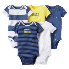 Fashion Baby Boys Bodysuits, 5-Pack Short-SleeveTurtle Elehpant  Pattern Body Bodysuits,  freeshipping(China (Mainland))
