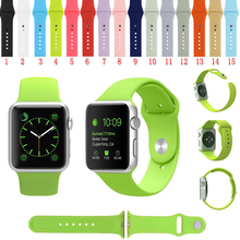 38 130 Silicone Colorful Band With Connection Adapter For Apple Watch 38mm Strap For iWatch Sports Buckle Bracelet 15 Colors(China (Mainland))