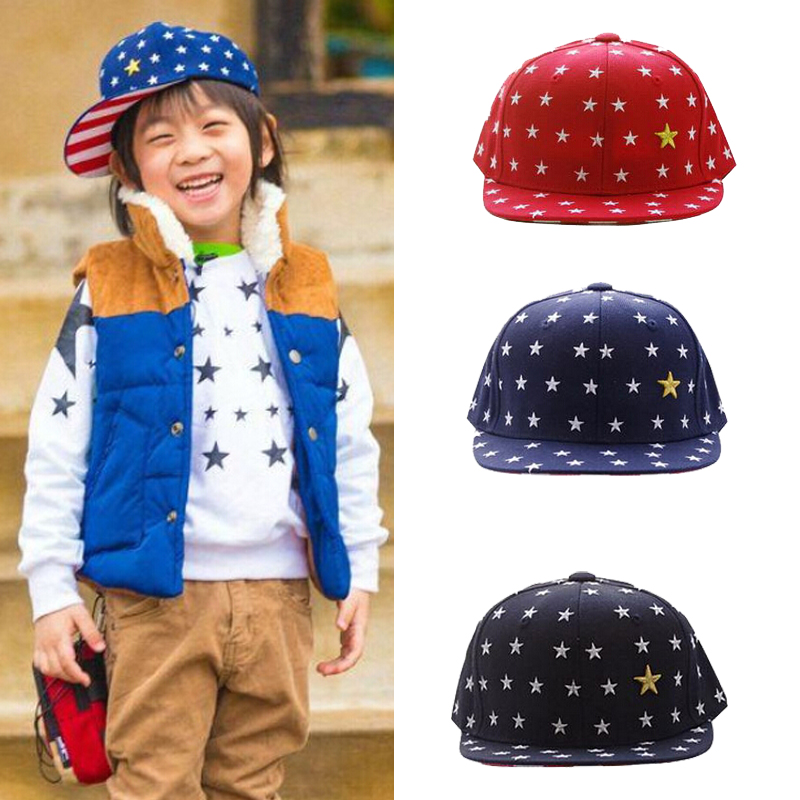 New 2015 Five Stars Unisex Boy Cap For Child Cap Girl Hat Baby Snapback Hat Kid Peaked Hat Baseball Cap Fit For 3-8 Years Old(China (Mainland))