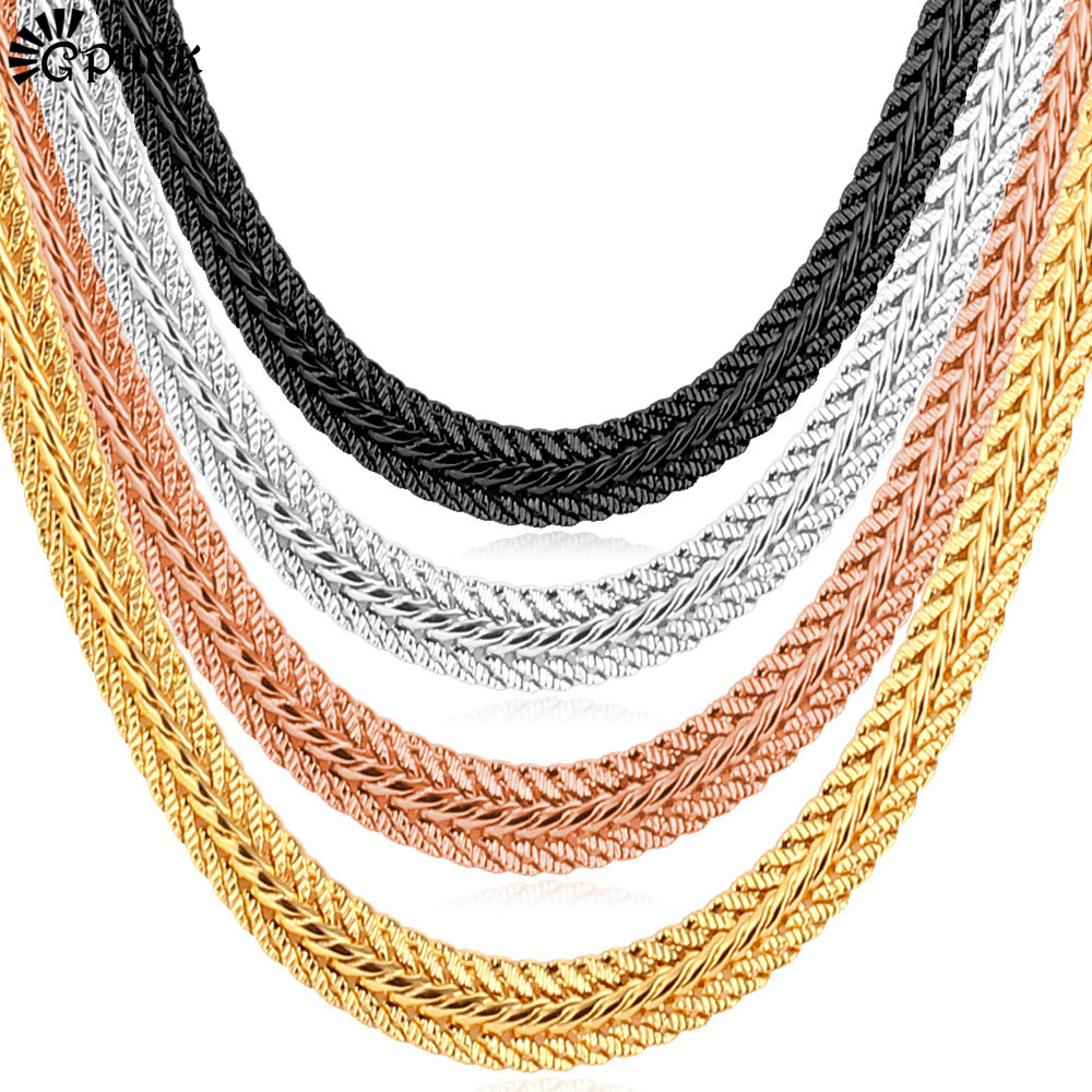 Curb Cuban Men Chains Necklace 18k Gold /Platinum /Rose/Black Gun Gold Plated Gift Wholesale 4 Options Hiphop Statement N435G(China (Mainland))