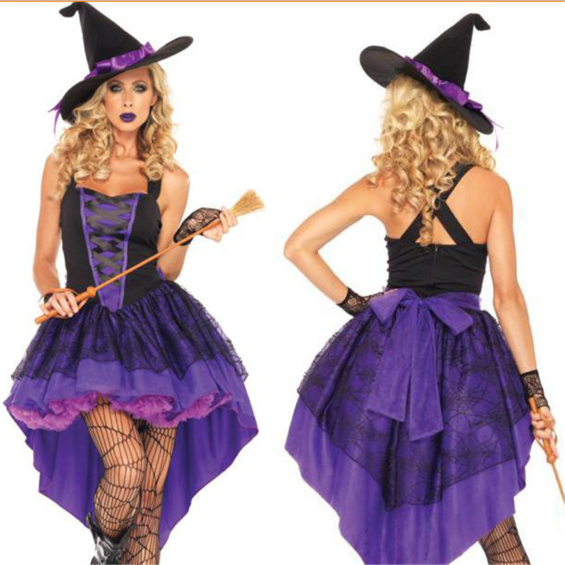 15 Witch dovetail skirt Halloween Costume for women Code division fat people Sexy Purple dressAdult Broomstick Colplay Costumes(China (Mainland))