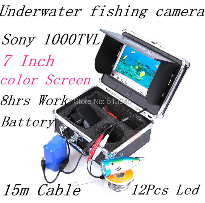 """New 7"""" TFT LCD Underwater Fishing Camera Fish Finder Video Camera HD 1000TV Lines 15 m Cable length Inspection With Rain Cover(China (Mainland))"""