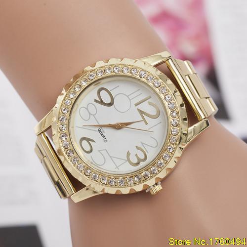 2015 NEW Womens Mens Crystal Rhinestone Alloy Stainless Steel Analog Quartz Wrist Watch<br><br>Aliexpress