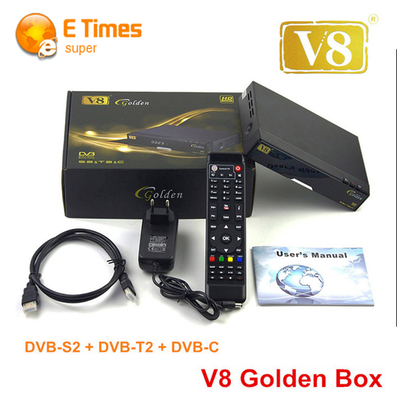[Genuine] V8 Golden DVB-S2 + T2 + Cable HD Satellite TV Combo Receiver Support Biss Key Cccamd Newcamd USB Wifi IPTV SET-TOP-box(China (Mainland))
