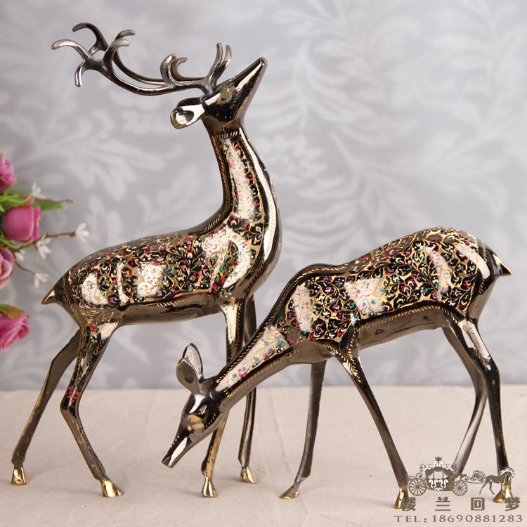 16 inch color Aili imports of deer in Pakistan Pakistan handicrafts carved bronze(China (Mainland))