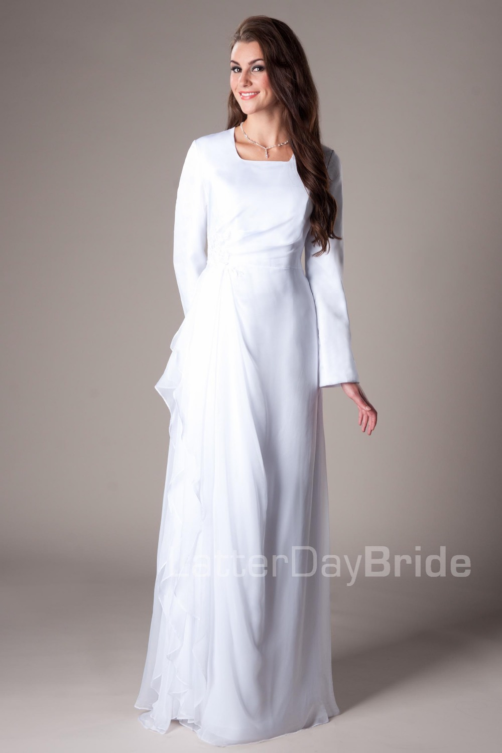 Turmec » long sleeve full length white dress