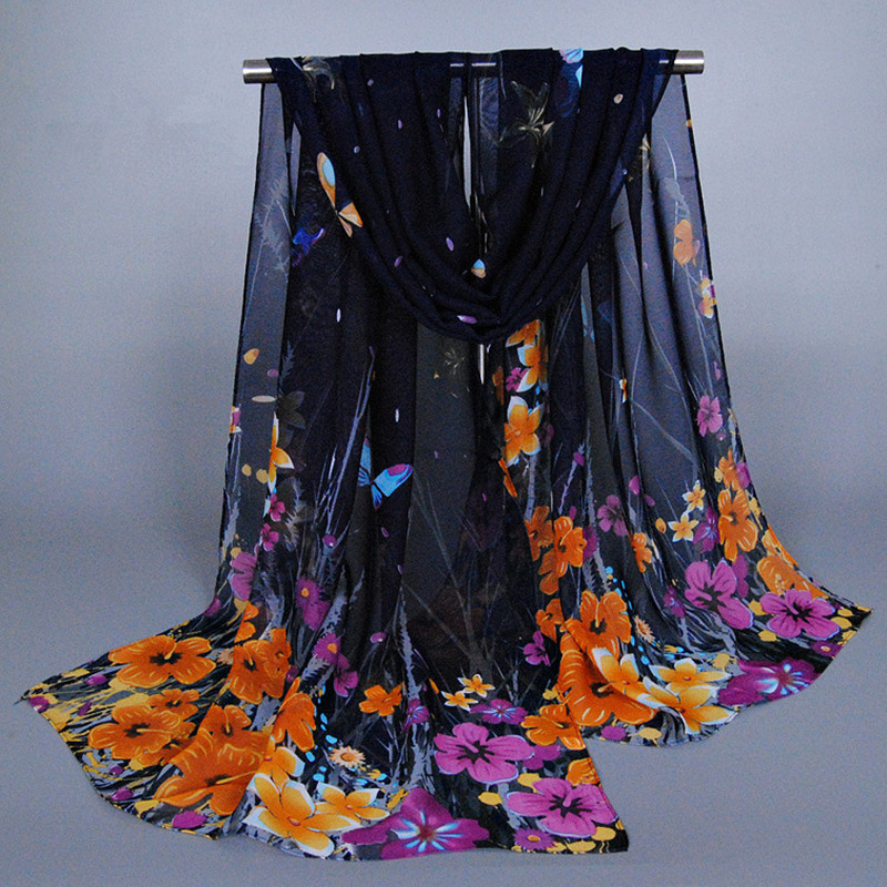2016 Spring new elegant women printed animal butterfly floral scarf silk chiffon beach hijab long muslim headband shawls scarves(China (Mainland))