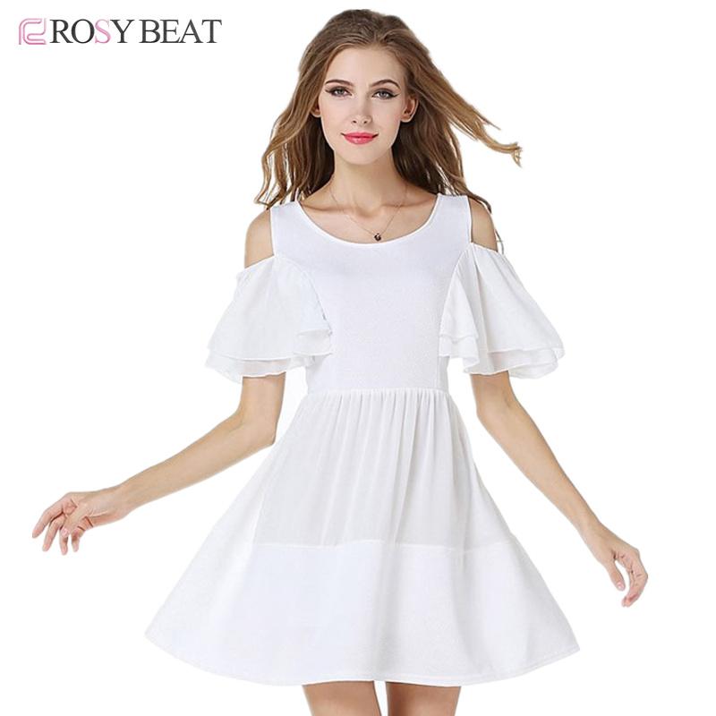 White Off Shoulder Mini Dress 2016 Vestidos Short Sleeve Summer Chiffon Dresses Elegant Cute Slim Sexy Beach Dress S-XL Ukraine(China (Mainland))