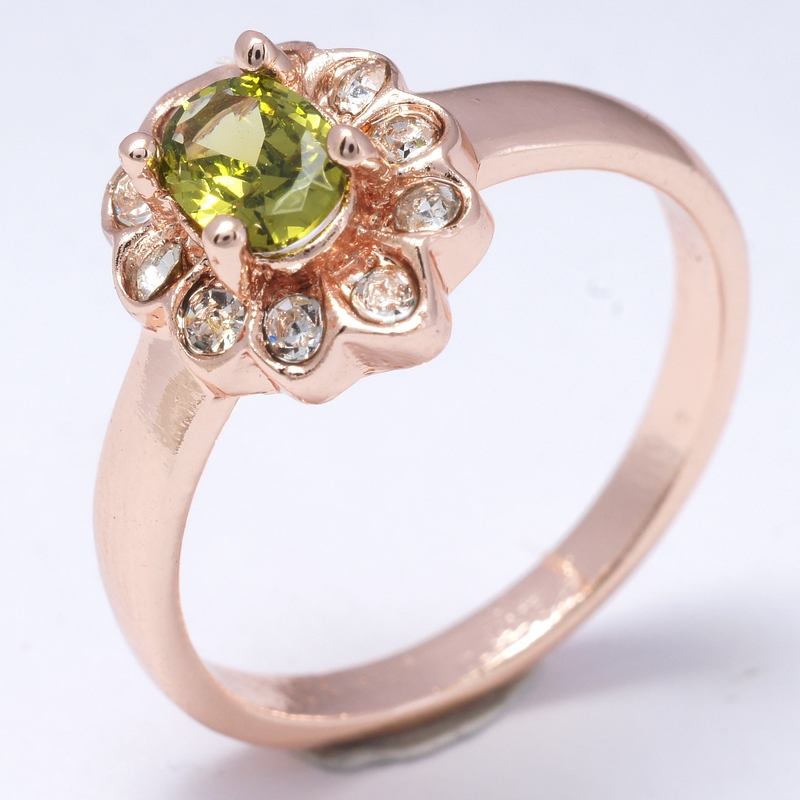 Hot Selling Dropship Party Girls green 18K Rose Gold Filled Cubic Zircon Women Lady Fashion Rings Jewelry R0045(China (Mainland))