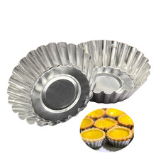 10pcs Cake Aluminium Alloy Tart Mould Baking Tool Cupcake Egg Tart Fruit Tart Mold 7Cm Diameter(Hong Kong)