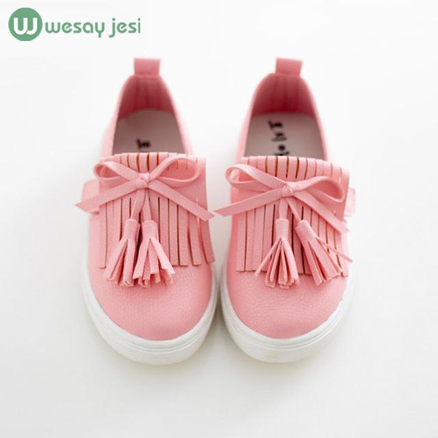 обувь для девочек Детская обувь 2016 весна девушки кожаные ботинки принцесса кисточкой ...