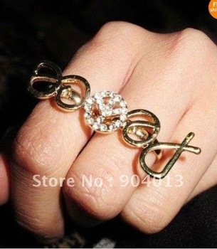 24pcs Free Shipping HOT! Fashion Two Fingers Exquisite Clear Crystal Golden Peace Sign Double Rings
