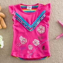 Детская Одежда 2016 лето 2-6y Дети девушки цветок майка без рукавов футболки девушки цветы детская одежда для девочки(China (Mainland))
