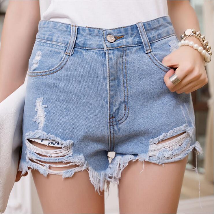 High Waist Shorts Summer Beach Irregular Hole Sexy Denim Shorts Women Black White Fashion Style 2015(China (Mainland))