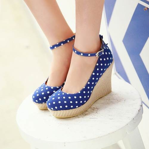 2015 new fashion shoes woman round toe wedges women pumps ankle strap high heels causal shoes cloth red blue lady summer shoes