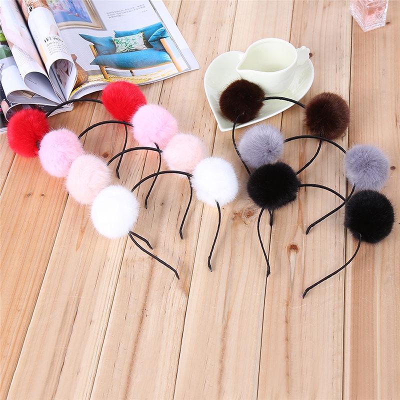 Sweet Pom Fur Ball Furry Ears Princess Headband Hair Band For Women Girls Kids Head Accessory Xmas Gift(China (Mainland))