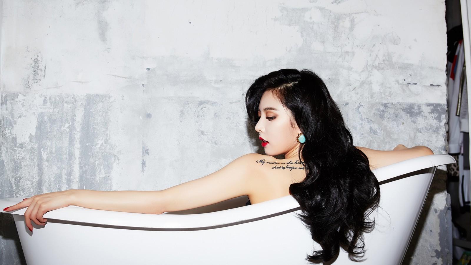 font b Asian b font Hyuna beauty beautiful sexy woman in bathtub black long font