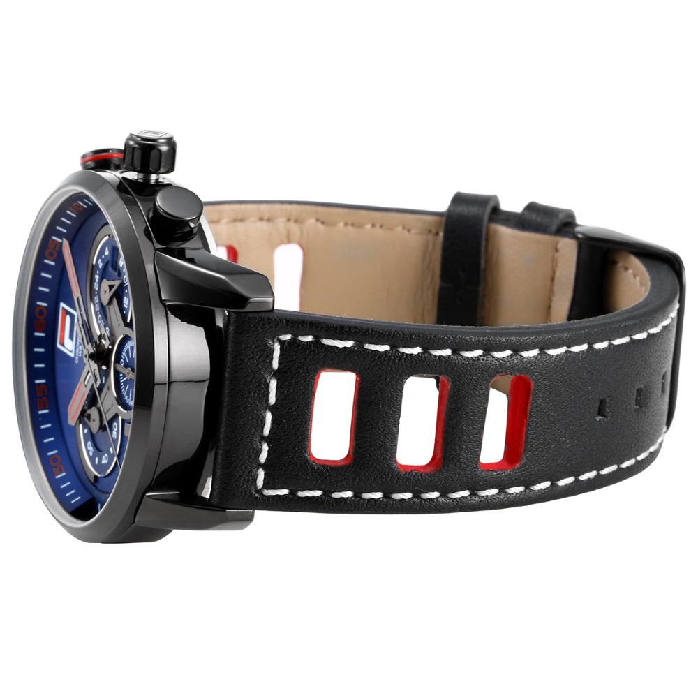 Fila Luxury Top Brand New Fashion Casual Big Dial Design 3 Timer Circles Sports Wristwatch Leather