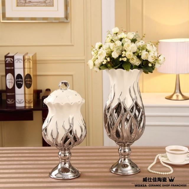 fashion home decoration white porcelain cutout flower vase modern home ceramic crafts creative desk set kits