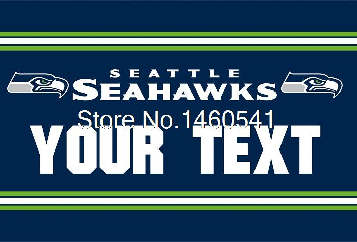 Seattle Seahawks Custom Your Text Flag 3ft x 5ft Polyester NFL Team Banner Flying Size No.4 144* 96cm QingQing Flag Super Fan(China (Mainland))