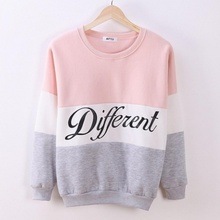 COCKCON Autumn and winter women Long Sleeve fleeve hoodies printed letters Different women casual sweatshirt hoody sudaderas(China (Mainland))