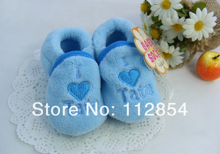 Free Shipping+Wholesale soft Embroidered baby shoes Coral fleece Baby Toddler shoes kids I LOVE Mama Tata shoes,150pairs/lot(China (Mainland))