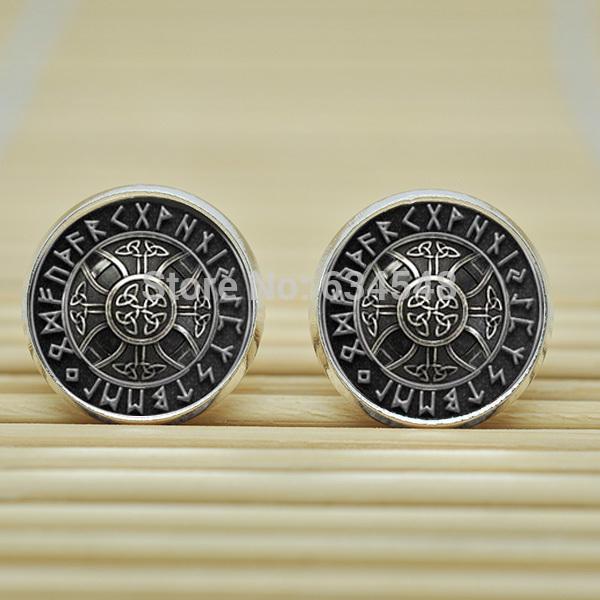 1pair Norse Viking Cross in Rune Circle Earrings Studs jewelry glass Cabochon Earrings Post B3891(China (Mainland))