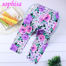 Sophisa New summer children s wholesale leggings flower printing girl calf length trousers ankle length trousers