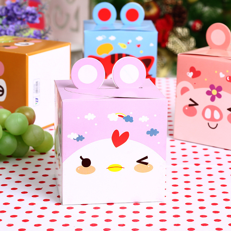 New Arrival 8.3*8.3*8.5cm 10pcs Purple Chicken Food Paper Box Children Birthday Baby Shower Gift Cookie Snack Wedding Candy Pack(China (Mainland))
